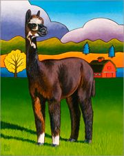 Bella Alpaca Painting by Stacey Neumiller