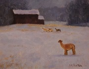 First Snow Alpaca painting by Mark Hunter