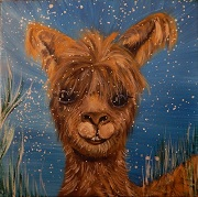 Winter Alpaca painting by Dr. Nancy James
