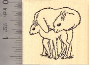 Alpaca Mother and Cria Rubber Stamp